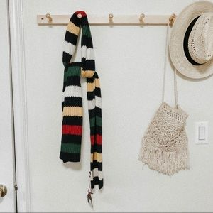 NEW Striped colorful knit scarf winter OS navy